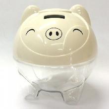 Cofre plástico formato Porco, contador de moedas