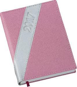 Agenda Diária Capa Metalizada Rosa com Prata